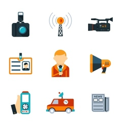 Assorted Journalism Flat Icons vector image