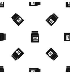 cat food bag pattern seamless black vector image vector image