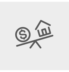 Compare or exchange home to money thin line icon vector image