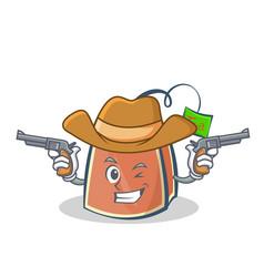 cowboy tea bag character cartoon vector image