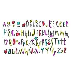 Doodle colorful kids alphabet vector image