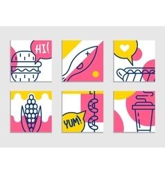 Fast food menu set of cartoon background vector