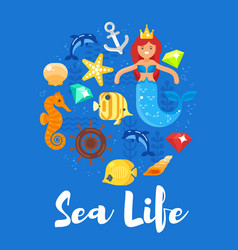 flat style of sea life vector image vector image