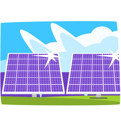 solar power plant ecological energy producing vector image vector image