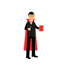vampire character standing with a flask of blood vector image