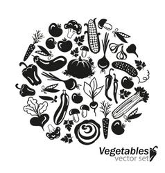 vegetables black icons on white background vector image