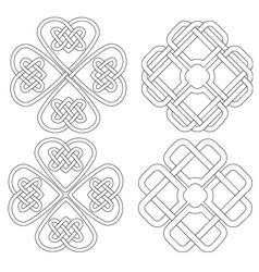 4 Celtic designed four-leave clovers vector image