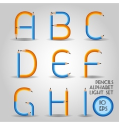 Alphabet in wooden pencil style vector image