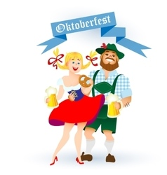 bavarian man and woman with a big glass of beer vector image vector image
