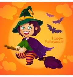 Happy Halloween Witch Girl Flying on Broom vector image