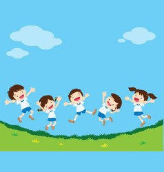 happy jumping student vector image