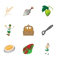 Attractions of Germany icons set cartoon style vector image vector image