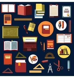 Education flat icons with school supplies vector image vector image