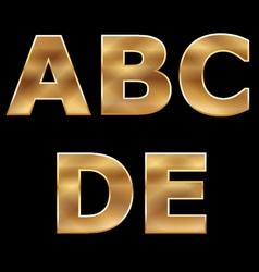 Gold Letters Set A-E vector image
