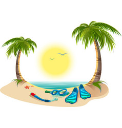 Summer holidays at sea Palm trees sun flippers vector image