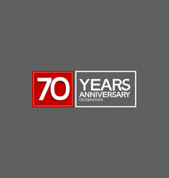 70 years anniversary in square with white and red vector
