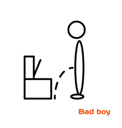 A simple linear image of a boy pissing past vector
