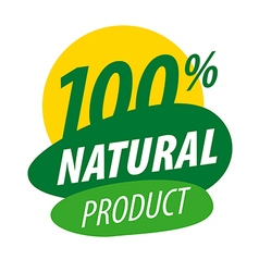 Abstract logo for 100 natural products vector image
