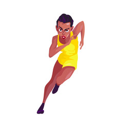 African in yellow sport suit runs on white vector