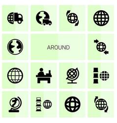 Around icons vector