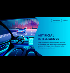 Artificial intelligence car cockpit landing page vector