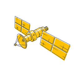 artificial orbital satellite floating in vector image