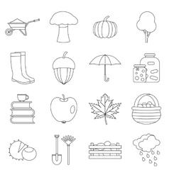 Autumn icons set outline ctyle vector