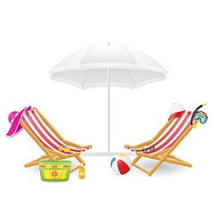 Beach chairs and parasol 02 vector