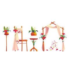 Beach wedding decoration with floral arch vector