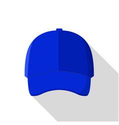 blue front baseball cap icon flat style vector image