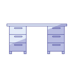 Blue shading silhouette of wooden office desk vector