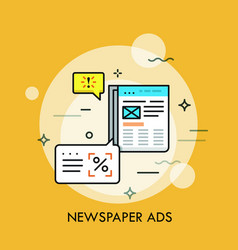 Business newspaper with advertisements and speech vector