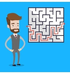 Businessman looking at the labyrinth vector