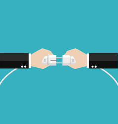 businessmen hands are connecting plug and outlet vector image
