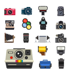 camera photo optic lenses set different types vector image