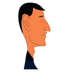 caricature of man with big ear on white background vector image