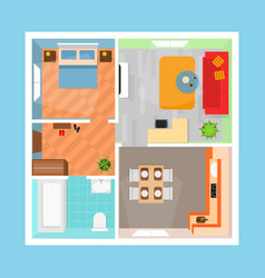 cartoon apartment floor plan top view card poster vector image