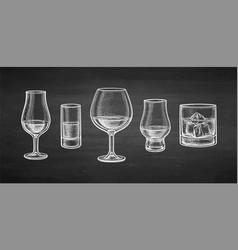 Chalk whiskey glasses vector