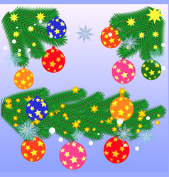 christmas decorations holly spruce red berries vector image