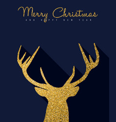 Christmas new year gold glitter luxury deer card vector