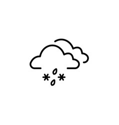 cloud with snow and rain icon black on white vector image