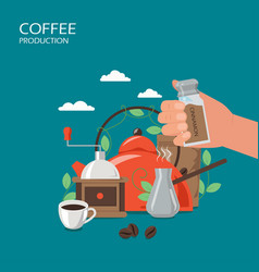 coffee production flat style design vector image