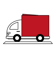 Color silhouette cartoon small transport truck vector