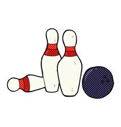 comic cartoon bowling ball and skittles vector image
