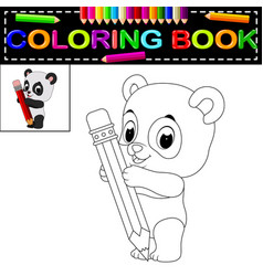 Cute happy panda coloring book vector