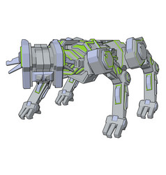 dog green robot on white background vector image