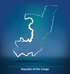 Doodle Map of Republic of Congo vector