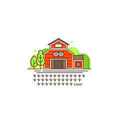 farm barn line icon with germinating field with vector image