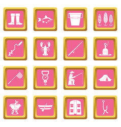 fishing tools icons pink vector image