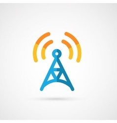 Flat icon of radio tower vector
